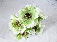 Декоративные цветы (маки) диаметр 5 см, 6 шт/уп. , бело-зеленого цвета, фото 1