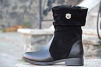 Женские зимние сапожки полусапожки черные натуральная кожа, замша черные деловые Днепр (Код: 934) 38