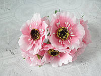 Декоративные цветы (маки) диаметр 5 см, 6шт/уп., нежно-розового цвета, фото 1
