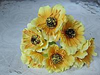 Декоративные цветы (маки) диаметр 5 см, 6 шт/уп., желтого цвета, фото 1