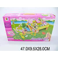 Домик 8075 2-х этажный с садом, куклами, мебелью, в кор. 47*9,5*28см