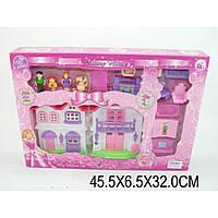 Домик BS866-6Xсв/муз,2-х эт,фигурки семьи,собака,диван,шкаф,пианино,кор.45*6,5*32см