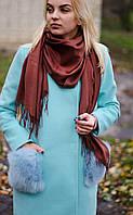 Шарф женский акриловый коричневый