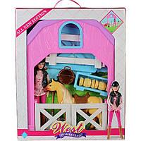 Лошадь MZT8981 с куклой,заборчик,ведерко,поилка,сено,вилы,лопата, в кор.51*42*7,5см