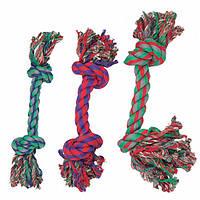 Karlie-Flamingo (КАРЛИ-ФЛАМИНГО) COTTON KNOT MINI игрушка для собак веревочная кость, 2 узла, маленькая , 14 см, мини, 3 ед. см., 0 кг.
