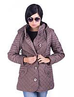 Женская демисезонная стеганная куртка большого размера на пуговицах
