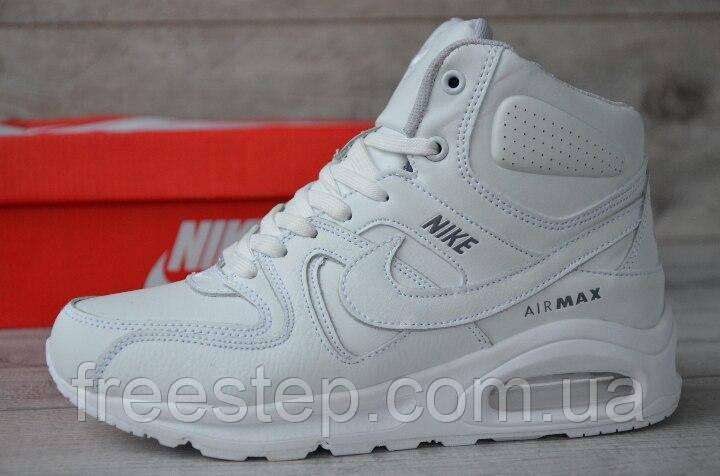 e432fde2 Зимние женские кроссовки в стиле NIKE Air Max 90 мех кожа белые -  Интернет-магазин