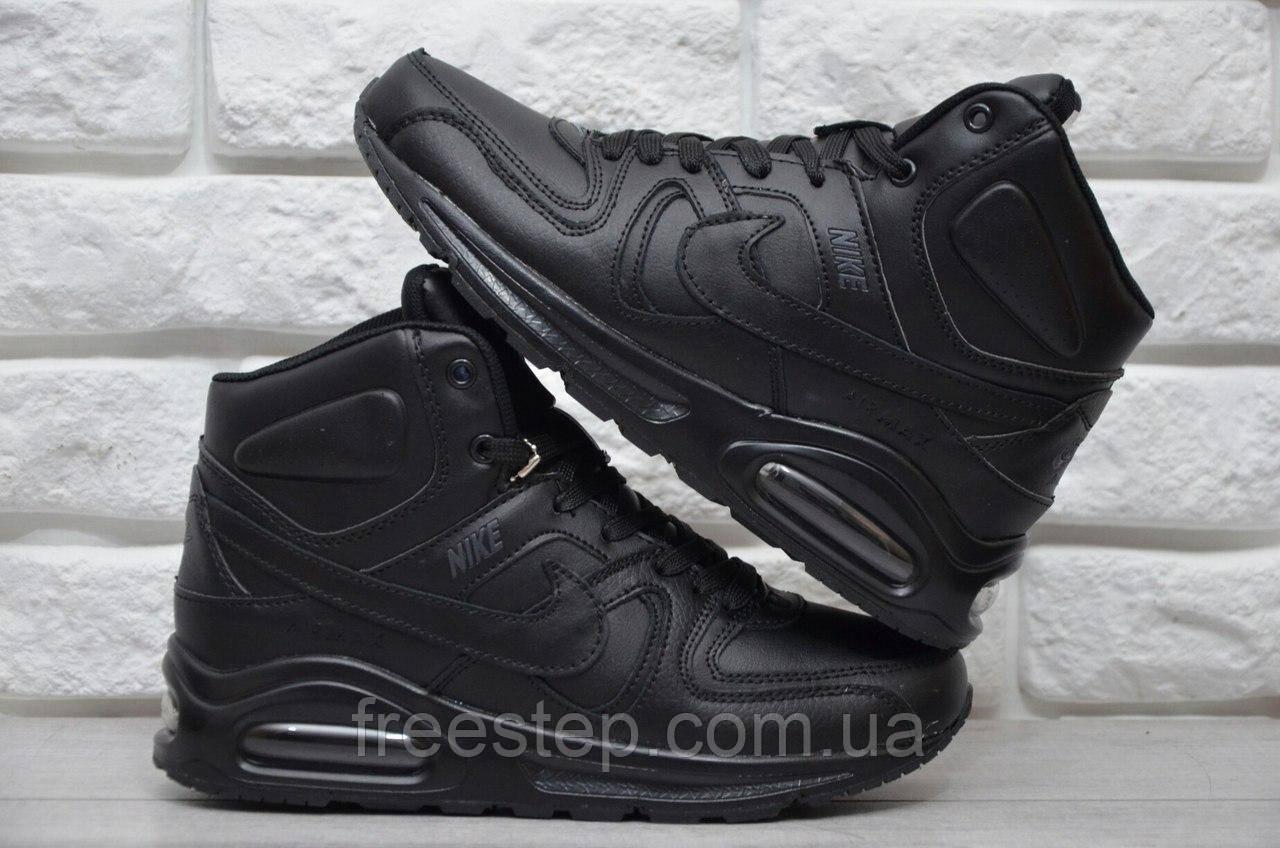 Зимние женские кроссовки в стиле NIKE Air Max 90 мех кожа черные - Интернет- магазин e3d4fbc3f72
