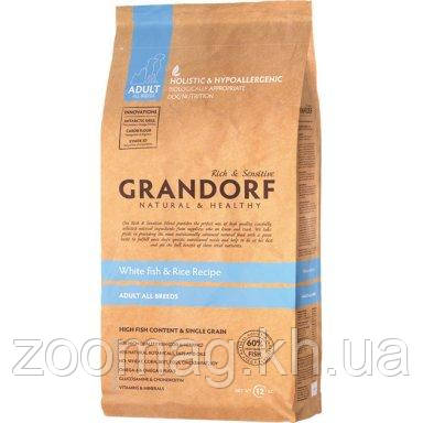 """Сухой низкозерновой корм """"Grandorf белая рыба с рисом"""" 25/14 (для взрослых собак всех пород) 12 кг"""