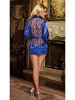 Сексуальный халат с ажурной спинкой синего цвета, трусики, пояс
