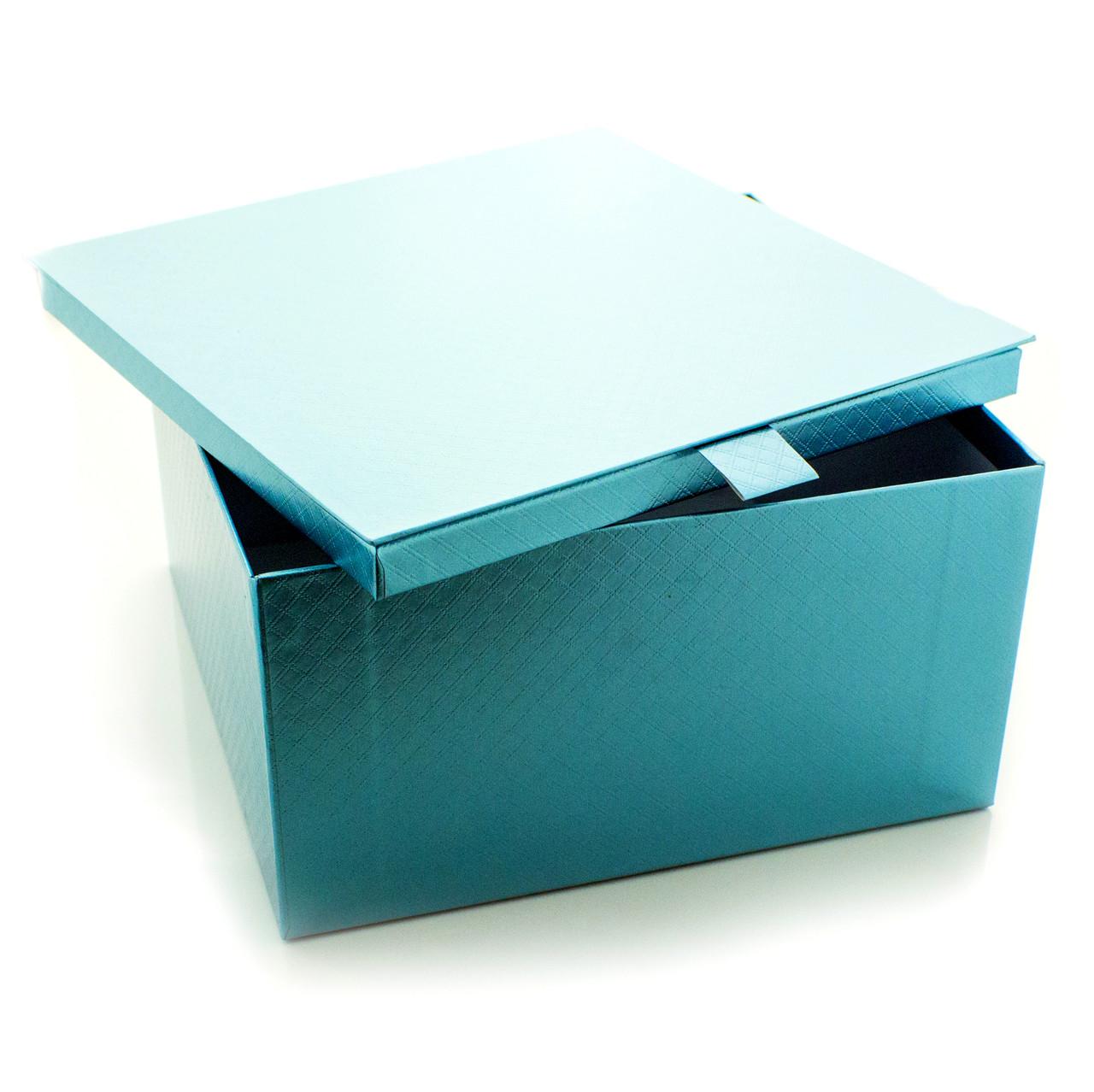Подарочная коробка Голубой Металлик 22 x 22 x 12 см