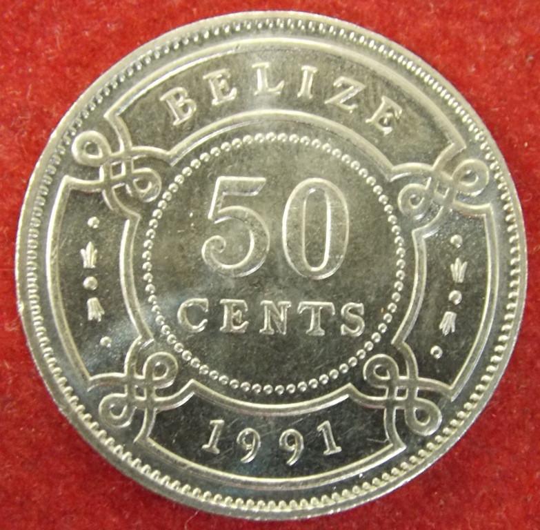 Монета Белиза. 50 центов 1991 г.