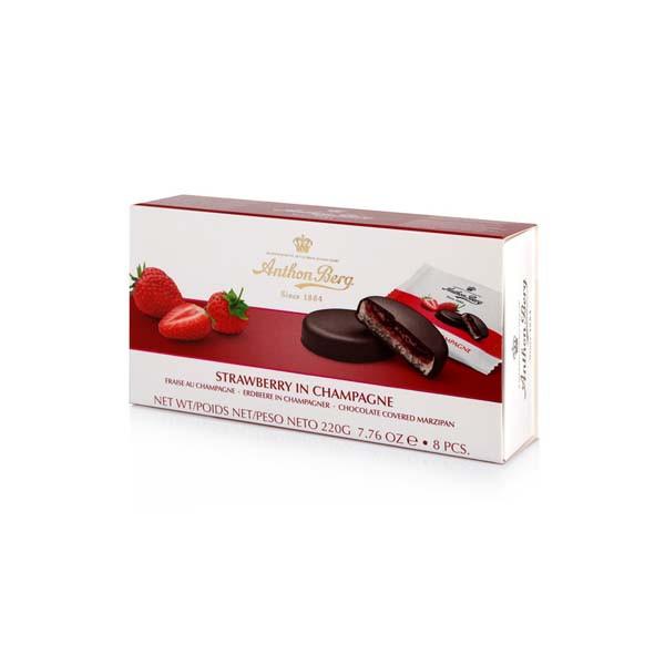 Марципан в шоколаде Anthon Berg с клубничным джемом и шампанским Strawberry in Champagne, 220 г
