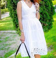 Женское летнее белое платье из натурального хлопка, кружева и прошвы