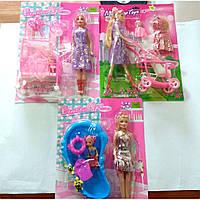 """Кукла типа """"Барби"""" 10111/2/5 3вида, с ребенком, аксес на планшетке"""