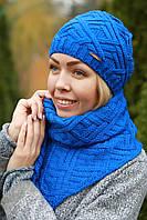 Комплект шапка и шарф шерстяной электрик синий
