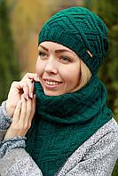 Комплект шапка и шарф шерстяной зеленый
