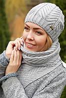 Комплект шапка и шарф шерстяной светло серый