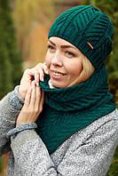 Комплект шапка и шарф шерстяной изумруд