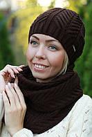 Комплект шапка и шарф шерстяной коричневый