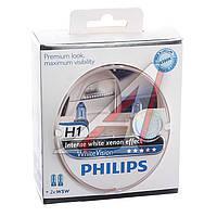 Лампа накаливания H1 WhiteVision 12V 55W P14,5s (+60) (4300K) 2 штуки (Производство Philips) 12258WHVSM
