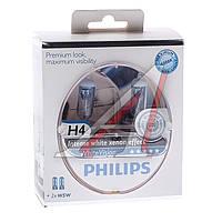 Лампа накаливания H4 WhiteVision 12V, 60/55W, P43t-38 (+60) (4300K)  2шт. (пр-во Philips) 12342WHVSM