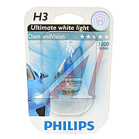 Лампа накаливания H3 12V 55W PK22s Diamond Vision 5000K 1шт blister (Производство Philips) 12336DVB1