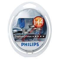 Лампа накаливания H4 12V 60/55W P43t-38 Diamond Vision 5000K (Производство Philips) 12342DVS2