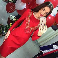 Красивое элегантное платье миди со стразами синее, красное