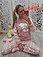 Женский теплый костюм пижама с повязкой для сна, в моделях