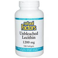 Лецитин (Lecithin), Natural Factors, 1200 мг, 180 капсул