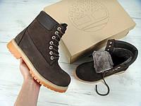 Зимние ботинки Timberland Brown Nubuck, мужские ботинки с натуральным мехом