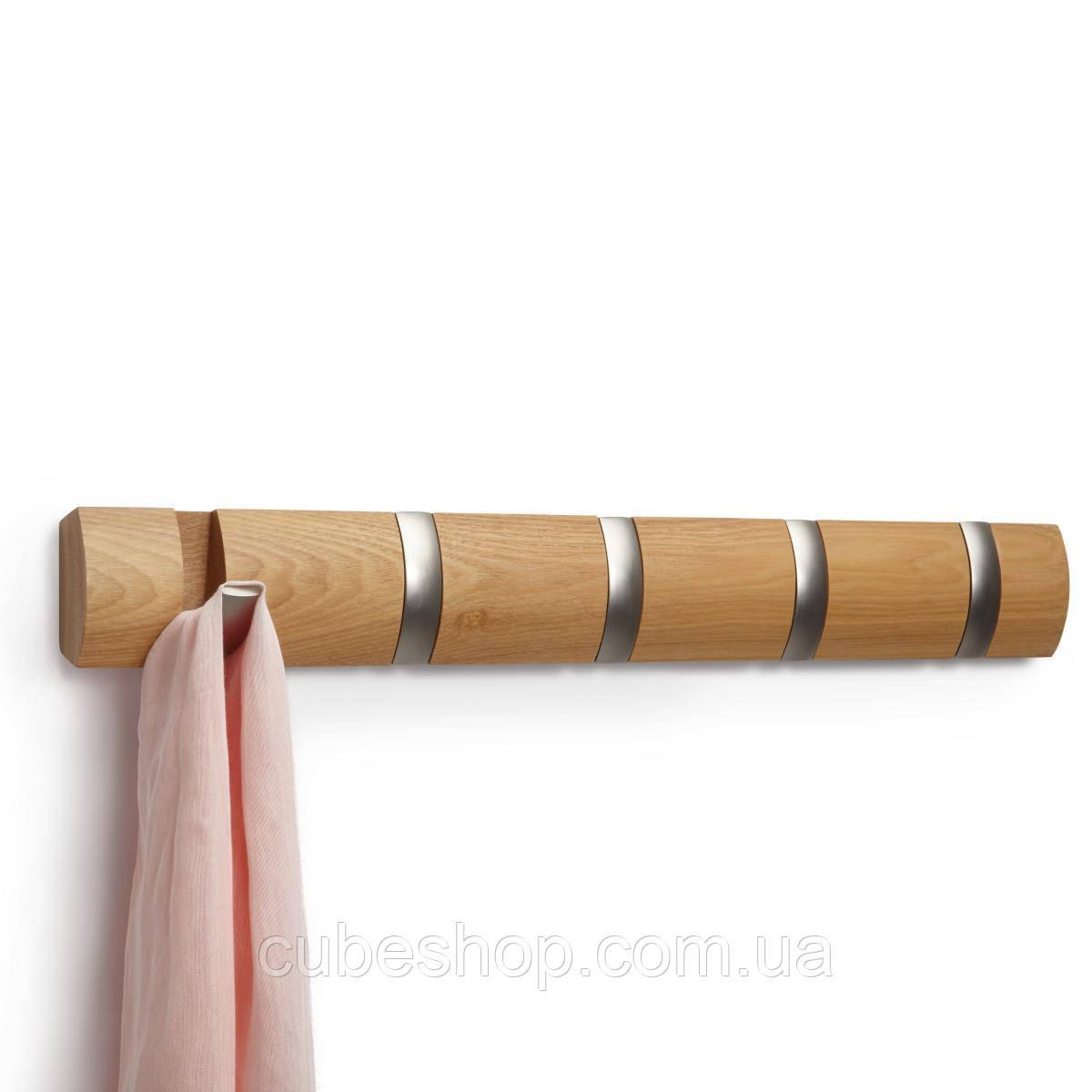 Вешалка Umbra 5 Flip (светлое дерево) для одежды настенная