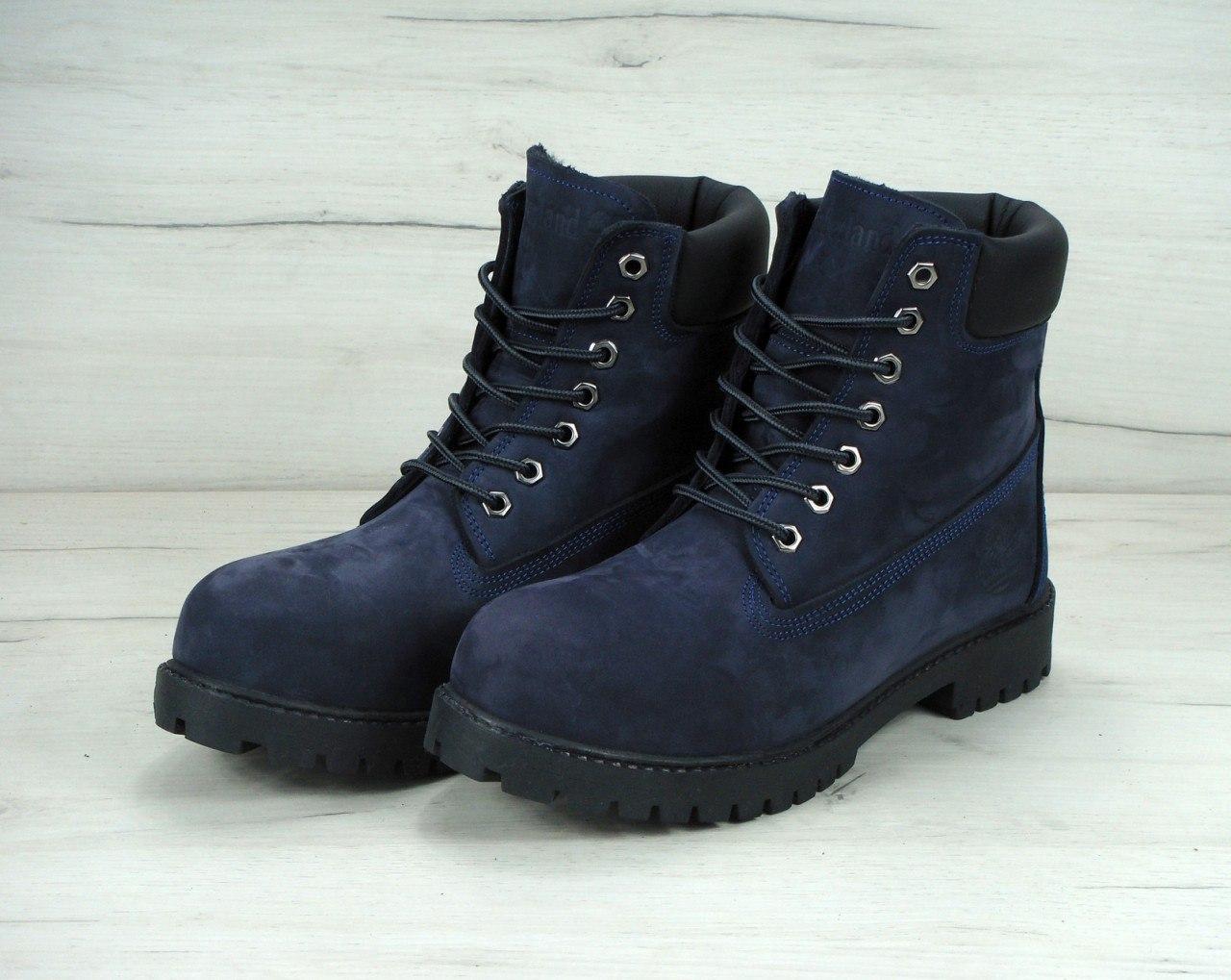 Зимние ботинки Timberland navy, мужские ботинки с искусственным мехом. ТОП Реплика ААА класса.