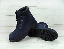 Зимние ботинки Timberland navy, мужские ботинки с искусственным мехом. ТОП Реплика ААА класса., фото 3
