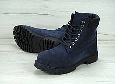 Зимние ботинки Timberland navy, мужские ботинки с искусственным мехом. ТОП Реплика ААА класса., фото 2