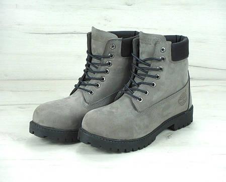 Зимние ботинки Timberland Grey, мужские ботинки с искусственным мехом. ТОП Реплика ААА класса., фото 2