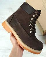 Женские зимние ботинки Timberland 6 inch Brown С МЕХОМ, темно-коричневые