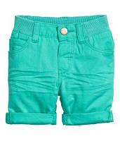 Детские летние бирюзовые шорты с подворотами H&M для мальчика