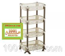 Пластиковая этажерка на 4яруса, кофейно-коричневая, Elif Plastik (Элиф)
