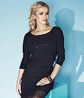 Теплая женская кофта из шерсти и вискозы черного цвета с пайетками. Модель Lily Zaps.