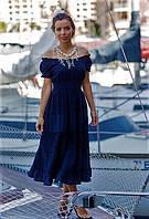 Женское летнее платье из натурального хлопка и кружева прошвы цвета индиго