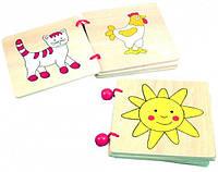 Деревянная книжка с рисунками 3*2 шт. для детей от 1 года (11 х 2 х 11 см) ТМ Bino 84148, фото 1