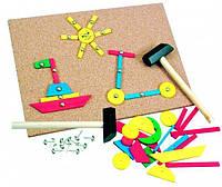 Деревянный игровой набор с молоточком для детей от 3 лет (229 деталей, 24,5x17,5x0,5 см) ТМ Bino 82188