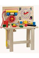Деревянный стол для юного мастера с часами и инструментом для детей от 1 года (размер 32 х 41 х 16 см) ТМ Bino 82145