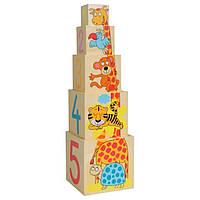 Развивающая деревянная игрушка Пирамидка с животными для детей от 1 года (13,5 X 13,5 X 13,5 cм) ТМ Bino 81033