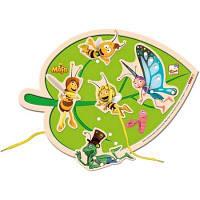 """Развивающая деревянная игрушка Прошивка """"Листок Пчелка Майя"""" для детей от 2 лет (30 Х 22,5 Х 1 cм) ТМ Bino 13618"""