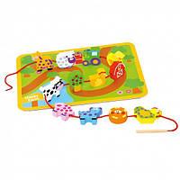 """Развивающая деревянная игрушка Шнуровка """"Зверьки для нанизывания"""" для детей от 1 года (29,5х21,5х1,8 cм) ТМ Bino 81038"""