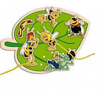 """Развивающая деревянная игрушка Шнуровка """"Майя"""" для детей от 2 лет (30 Х 22 Х 1 cм) ТМ Bino 13603"""
