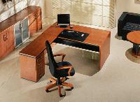 Стол для руководителя Статус-Люкс прямой с тумбой шпон палисандр